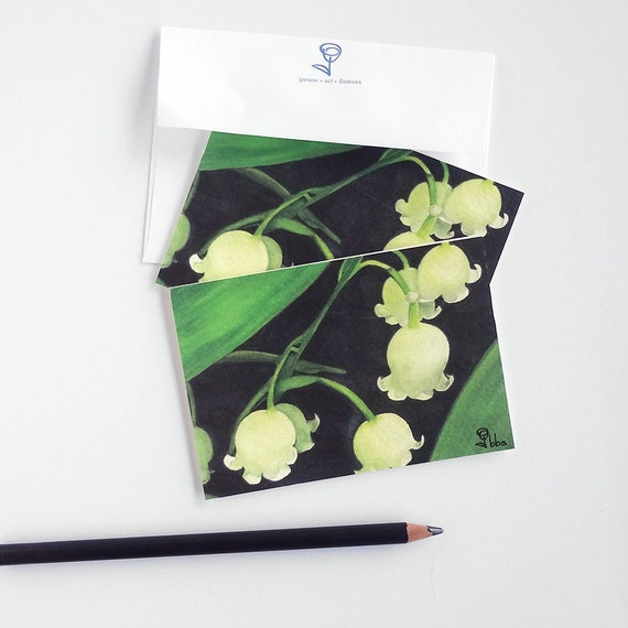lily of the valley card set, flower cards, botanical stationery, art print invitations, blank note cards