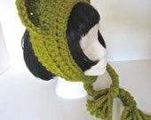 Green Ear warmer, Smitten Kitten knitted cat ears headband, ear muffs, ear warmers, bright olive green wool blend