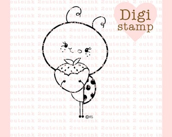 Sweet Ladybug Digital Stamp for Love, Birthday, Valentines Day, or Friendship for Card Making and Crafts