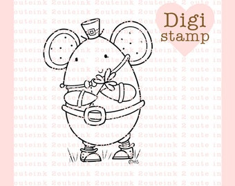 Shamrock Mouse Digital Stamp for Card Making and Paper Crafts