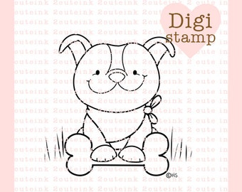 Pit Bull Pup - Digital Pit Bull Stamp - Pittie Stamp - Digital Pittie Stamp - Pit Bull Art - Pit Bull Card Supply - Pit Bull Craft Supply