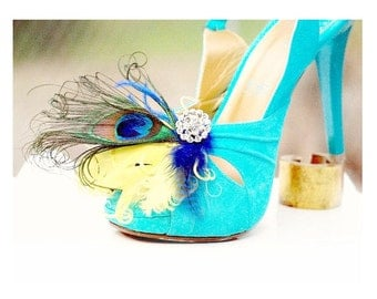 Shoe Clips Peacock Plumes Yellow Royal Blue Ostrich Feather. Statement Couture Wedding, Engagement Party Bride Bridal Bridesmaid Photography