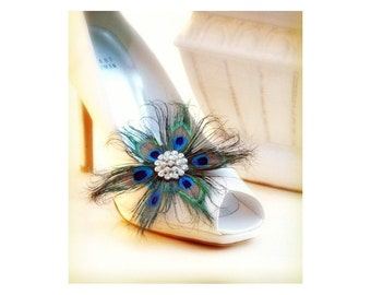 Shoe Clips Stunning Peacock Flower. Couture Bride Bridal Bridesmaid, Feminine Large Silver Rhinestone, Wedding Statement Winter Fashion Gift