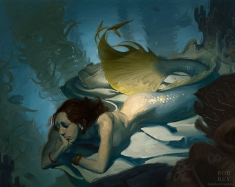 Shadowy Deep (Mermaid) - Print of original oil painting