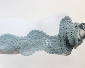 Crocheted long lace scarf in light blue baby blue