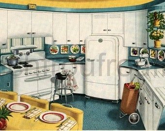 retro mid century modern kitchen design illustration blue and yellow digital download