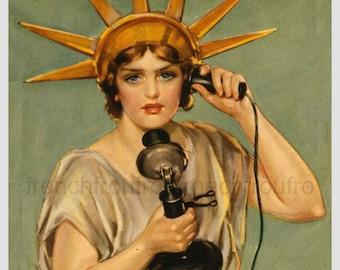 antique art deco lithograph pinup liberty calling illustration digital download
