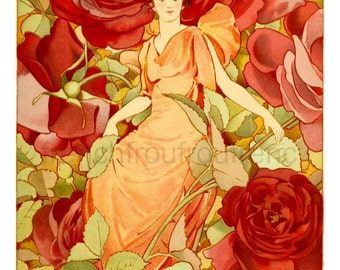 antique victorian illustration the dream of roses DIGITAL DOWNLOAD