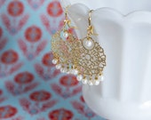 Gold Pearl Chandelier Bridal Earrings Bollywood Filigree by MinouBazaar