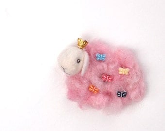 Felted Sheep princess in corona soft pink - neddle felted wool locks of teeswater, as  Brooch or magnet