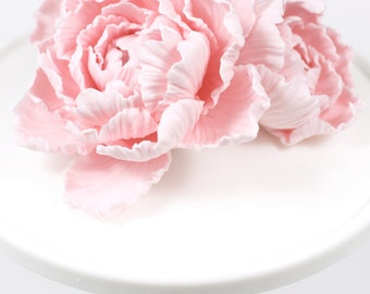 Peony & Bud Wedding Cake Topper Pink Sugar Paste by lil sculpture