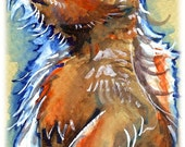 Prairie Dog Watercolor Painting Print, Artist-Signed