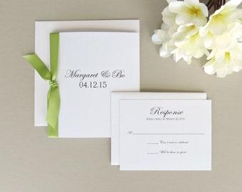 Simple Elegant Wedding Invitation with Ribbon and Response Card Set