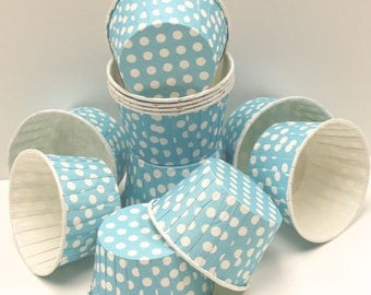 Cupcake Baking Cups, 20 Tropical Blue Dot Candy Nut Cups, Blue Cupcake Paper Bake Cups, Party Nut Cup, Paper Candy Cup, Party Food Treat Cup