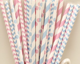 Paper Straws, 25 Baby Gender Reveal Paper Straws, Chevron Straws, Baby Shower Straws, Pink and Blue Straws, Striped Straws, Drinking Straws