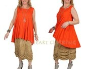 SunHeart Ceres Tank TanGeRiNe Boho hippie chic SwingY hi-low asym peiced Top small medium large FINAL SALE