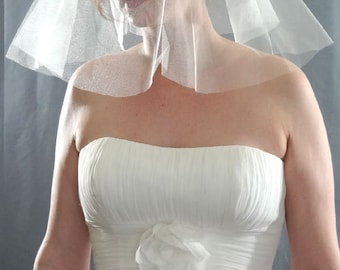 English Silk Tulle Wedding Veil, Crispy Silk Veil
