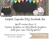 DIY Blank Facebook Timeline Set - Confetti Cupcake - Customize for your Facebook Business or Personal Page