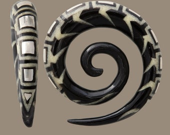 Horn Spiral  Ear Stretcher with Bone and Silver Inlay, Gauge jewelry, Ear gauges, Organic ear stretchers, Gauges, Spiral ear stretchers,