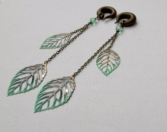 Long Green Tipped Bronze Leaves Gauged Earrings with Blue Freckles