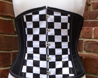 Sexy Punk Visual Kei Black and White Checkerboard Under Bust Corset Size M