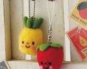 Pineapple + Strawberry Fruits Strap, Japanese Needle Acrylic Fiber Felt  DIY Kit , Kawaii Hamanaka Aclaine Kit, Easy Tutorial, F91