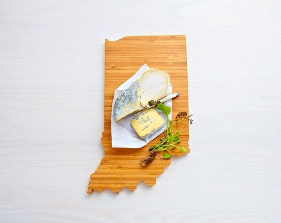Indiana Cutting Board 4th of july Gift Personalized engraved Indiana cheese state shaped board