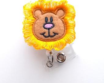 Harry the Lion - Cute Badge Reel - Nurses Badge Holder - Felt Badge Holder - Nursing Badge Holder - Cute Badge Reel - RN Badge Reel - Nurse