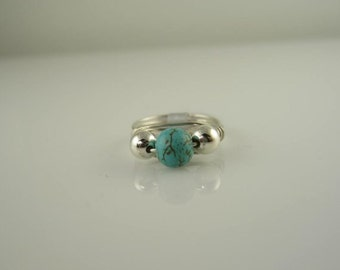 Turquoise Bead Handmade Ring Wire Wrapped With Sterling Silver Wire