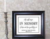 A candle burns In Memory of those who have gone before us with Bride and Groom Names & Date. Wedding Sign,  DIY Printable.
