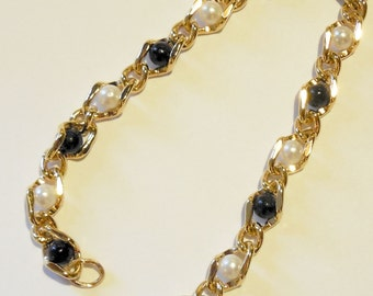 Jet Beads and Pearls Wrapped with Non-tarnishing 18kt Heavy Plated Gold