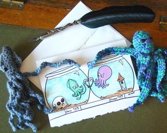 I Miss You Card - Squid and Octopus - Shrimp-Crossed Lovers - Long Distance Relationship