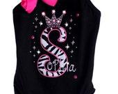 Custom Boutique TrendyGirlz Exclusive Rhinestone Zebra Birthday Letter Number Crown Over The Leotard