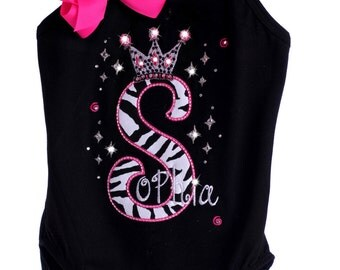 Custom Boutique TrendyGirlz Exclusive Rhinestone Zebra Birthday Letter Number Crown Over The Leotard