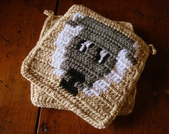 Country Sheep Potholders, Rustic, Country, Farm Animal Potholders, Pot Holders, Light Brown, White, Grey, Crocheted, Crochet MADE TO ORDER