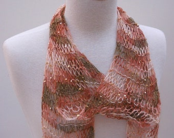 Silk & Mohair Scarf-  Hand Knit/  Beaded/ Sequins/ Amber/ Soft Green/ Cream