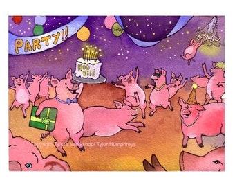 Funny Pig Card - Pig Greeting Card - Funny Pig Art - Pig Illustration 'Party Pigs'