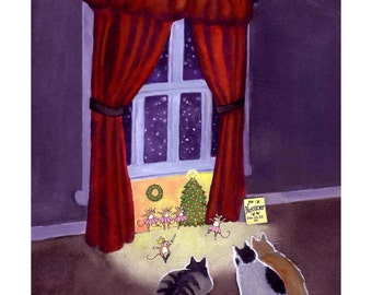 Funny Cats Christmas Card - Humorous Cat And Mouse Christmas Greeting Card - The Nutcracker - Illustrated Nutcracker Theme Card With Cats