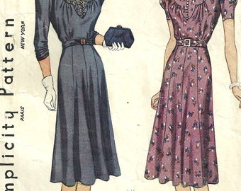 Vintage 30s Sewing Pattern / Simplicity 3288 / Dress / Size Bust 40