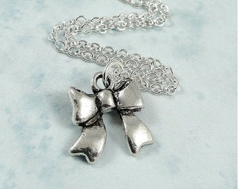 CLEARANCE - Hair Bow Necklace, Silver Plated Hair Bow Ribbon Charm on a Silver Cable Chain