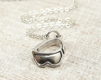 Ski Goggles Necklace, Sterling Silver Ski Goggles Charm on a Silver Cable Chain