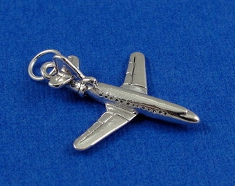 Airplane Charm - Silver Plated Airplane Charm for Necklace or Bracelet