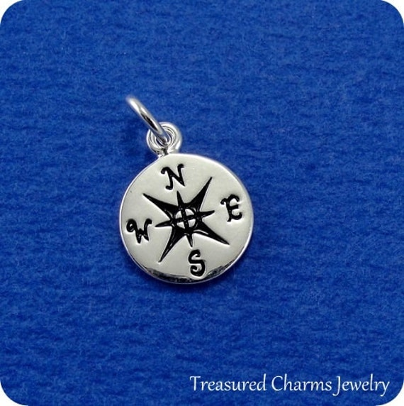 tiny compass charm sterling silver compass by treasuredcharms