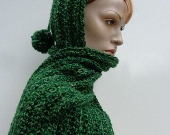 Hooded Scarf - Forest Green Hooded Scarf - Dark Green Scoodie - Forest Green Pixie Hood - Crocheted Hood