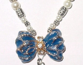 Wedding Bouquet Memorial Photo Oval Metal Bow Charm Something Blue Crystal Gems Pearls Silver Diamond Tibetan Beads - FREE SHIPPING