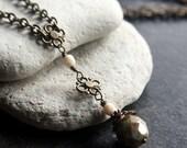 Green Czech Glass Bead Necklace - C.96