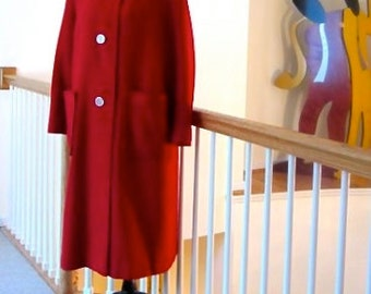 1960s Red Hopsack Coat Lassie Maid for Joels' West Chester PA Hockanum Fabric JP Stevens Co Gorgeous Lightweight Lipstick Red