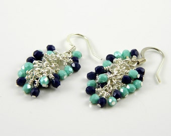 Navy Blue and Turquoise Cascade Dangle Earrings in Silver