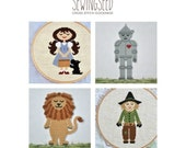 The Wizard of Oz Cross Stitch Pattern Collection, Dorothy, Scarecrow, Lion, Tin Man, INSTANT DOWNLOAD