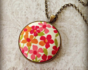 Poppy Fields in Pink Necklace Woodland Wedding Flower Necklace Hippie Wedding Gift Bridesmaid Gift Flower Child Gifts for Her
